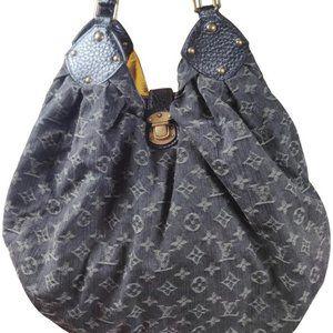 Auth Louis Vuitton Denim XL Noir Bag